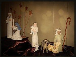 Shepherds walking away from the manger