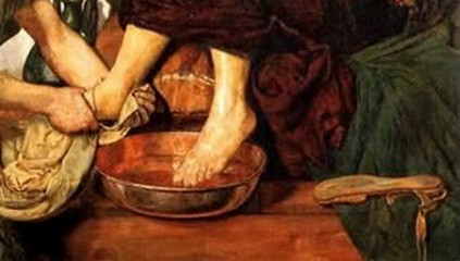 Painting of Jesus washing Peter's feet