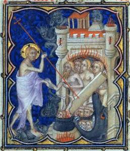 14th century manuscript illustrating the harrowing of hell