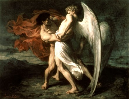 Jacob Wrestling by Alexander Louis Leloir, 1865 (source)