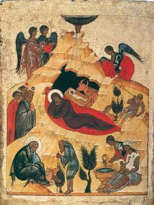 Icon of the Nativity (source). Learn about the meaning of this icon and its symbols.