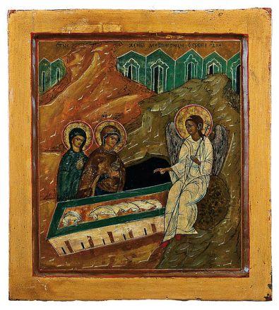 Resurrection, Icon, Matthew 28:1-10, Easter, Myrrh Bearers, Women at the Tomb, Myrrh Bearing Women