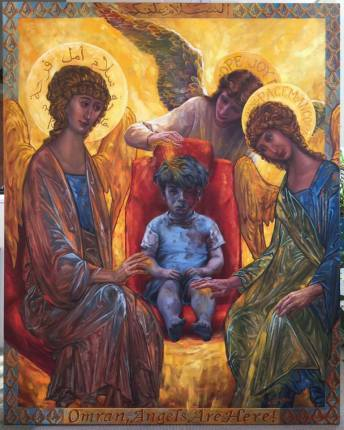 """Omran, Angels Are Here!"" Copyright 2016 by Judith Mehr, used by permission."